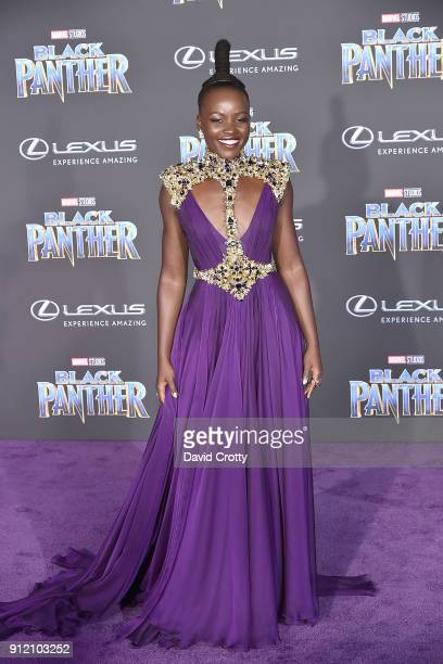 """Lupita Nyong'o attends the Premiere Of Disney And Marvel's """"Black Panther"""" - Arrivals on January 29, 2018 in Hollywood, California."""