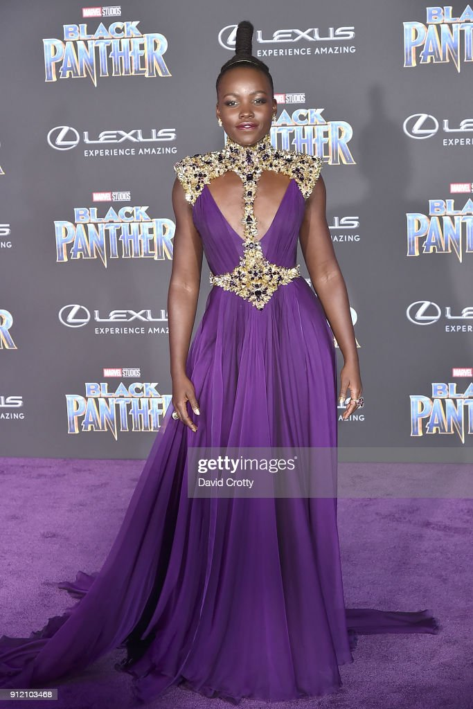 Lupita Nyong'o attends the Premiere Of Disney And Marvel's 'Black Panther' - Arrivals on January 29, 2018 in Hollywood, California.