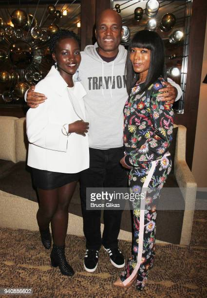 Lupita Nyong'o Director Kenny Leon and Angela Bassett pose backstage at the new revival of the play 'Children of a Lesser God' on Broadway at Studio...