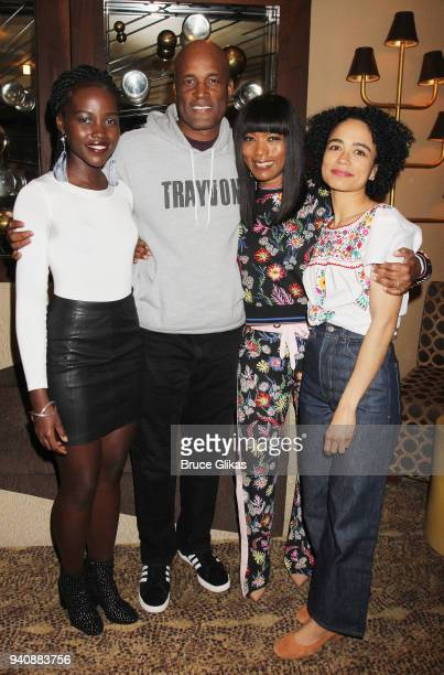 Lupita Nyong'o Director Kenny Leon Angela Bassett and Lauren Ridloff pose backstage at the new revival of the play 'Children of a Lesser God' on...