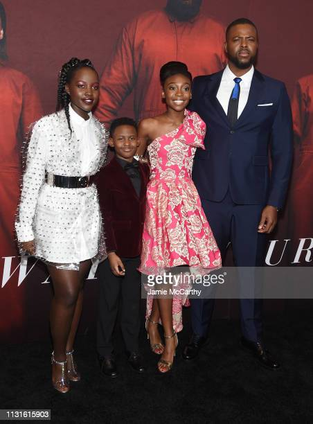 "Lupita Nyong'o, Evan Alex, Shahadi Wright Joseph and Winston Duke attend the ""US"" premiere at Museum of Modern Art on March 19, 2019 in New York City."