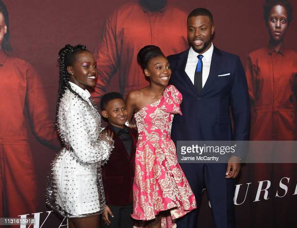 Lupita Nyong'o Evan Alex Shahadi Wright Joseph and Winston Duke attend the 'US' premiere at Museum of Modern Art on March 19 2019 in New York City