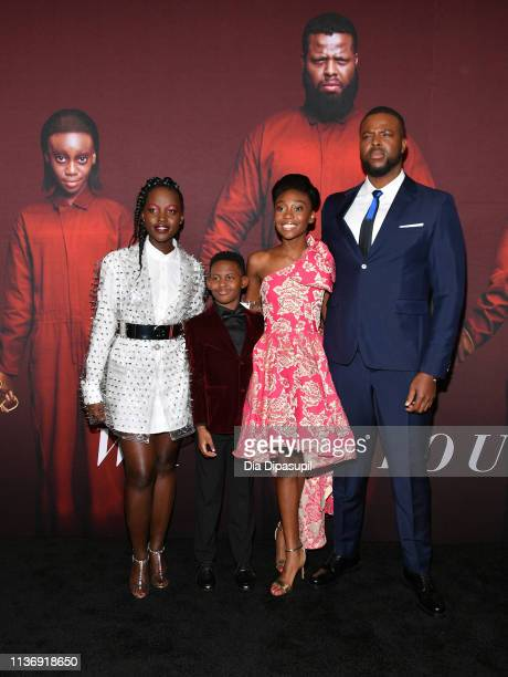 "Lupita Nyong'o , Evan Alex , Shahadi Wright Joseph and Winston Duke attend the ""US"" New York Premiere at The Museum of Modern Art on March 19, 2019..."