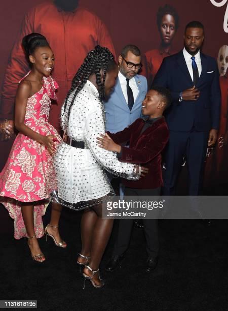 Lupita Nyong'o Evan Alex Shahadi Wright Joseph Jordan Peele and Winston Duke attend the 'US' premiere at Museum of Modern Art on March 19 2019 in New...