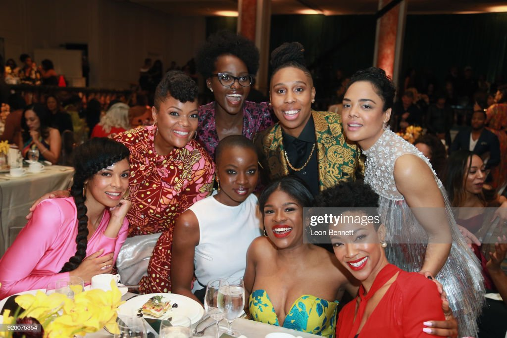 Lupita Nyong'o, Honoree Lena Waithe, Honoree Tessa Thompson, Susan Kelechi Watson, Yvette Nicole Brown, Honoree Danai Gurira, Edwina Findley Dickerson, and Sonequa Martin-Green attend the 2018 Essence Black Women In Hollywood Oscars Luncheon at Regent Beverly Wilshire Hotel on March 1, 2018 in Beverly Hills, California.