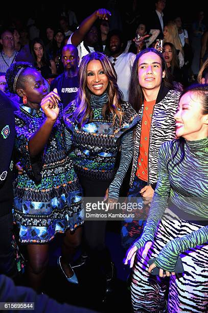 Lupita Nyong'o Iman Xiuhtezcatl Martinez and Suboi dance at the KENZO x HM Launch Event Directed By JeanPaul Goude' at Pier 36 on October 19 2016 in...