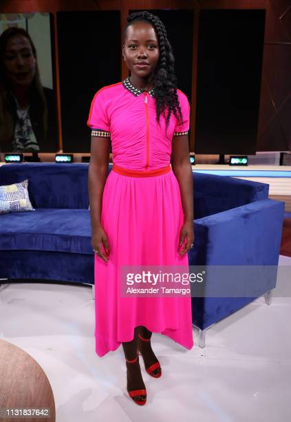 Lupita Nyong'o is seen on the set of Un Nuevo Dia at Telemundo Center to promote the film Us on March 21 2019 in Miami Florida