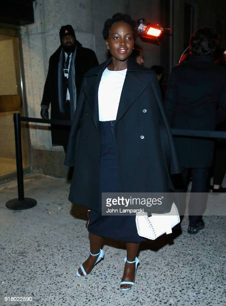 Lupita Nyong'o is seen outside the Calvin Klein show at the American Stock Exchange during New York Fashion Week at on February 13 2018 in New York...
