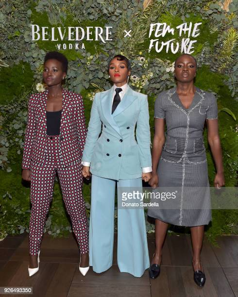 Lupita Nyong'o Janelle Monae and Danai Gurira attend as Janelle Monae and Belvedere Vodka kickoff 'A Beautiful Future' Campaign with Fem the Future...