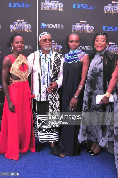 Lupita Nyongo John Kani Danai Gurira and Connie Chiume during the Black Panther movie premiere at Montecasino on February 16 2018 in Fourways South...