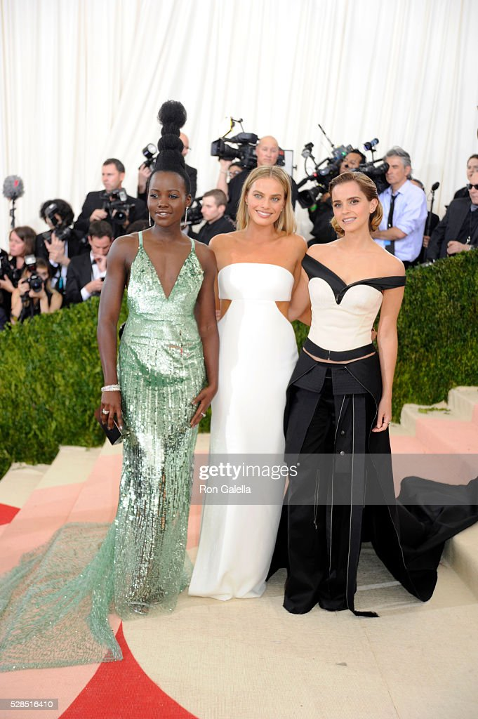 Lupita Nyong'o, Margot Robbie and Emma Watson at Metropolitan Museum of Art on May 2, 2016 in New York City.