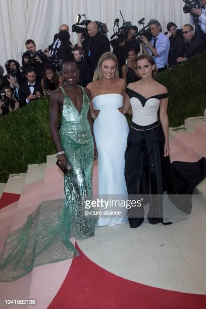 Lupita Nyong'o Margot Robbie and Emma Watson attend 'Manus x Machina Fashion In An Age Of Technology' Costume Institute Gala at Metropolitan Museum...