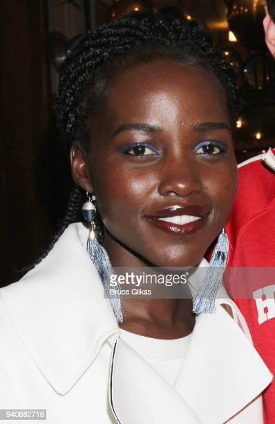Lupita Nyong'o poses backstage at the new revival of the play 'Children of a Lesser God' on Broadway at Studio 54 Theatre on April 1 2018 in New York...