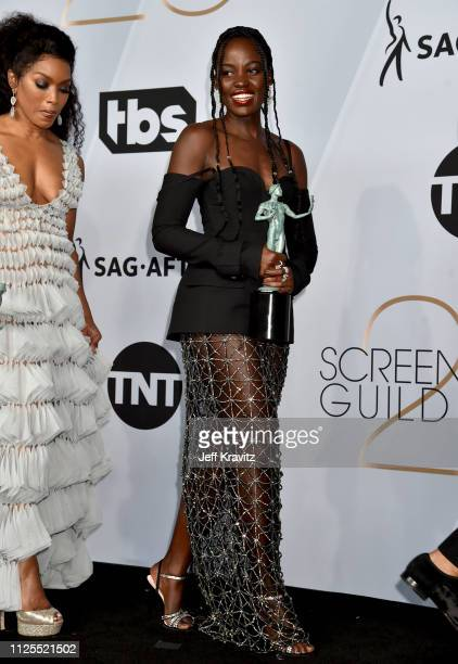 Lupita Nyong'o poses in the press room during the 25th Annual Screen ActorsGuild Awards at The Shrine Auditorium on January 27, 2019 in Los Angeles,...