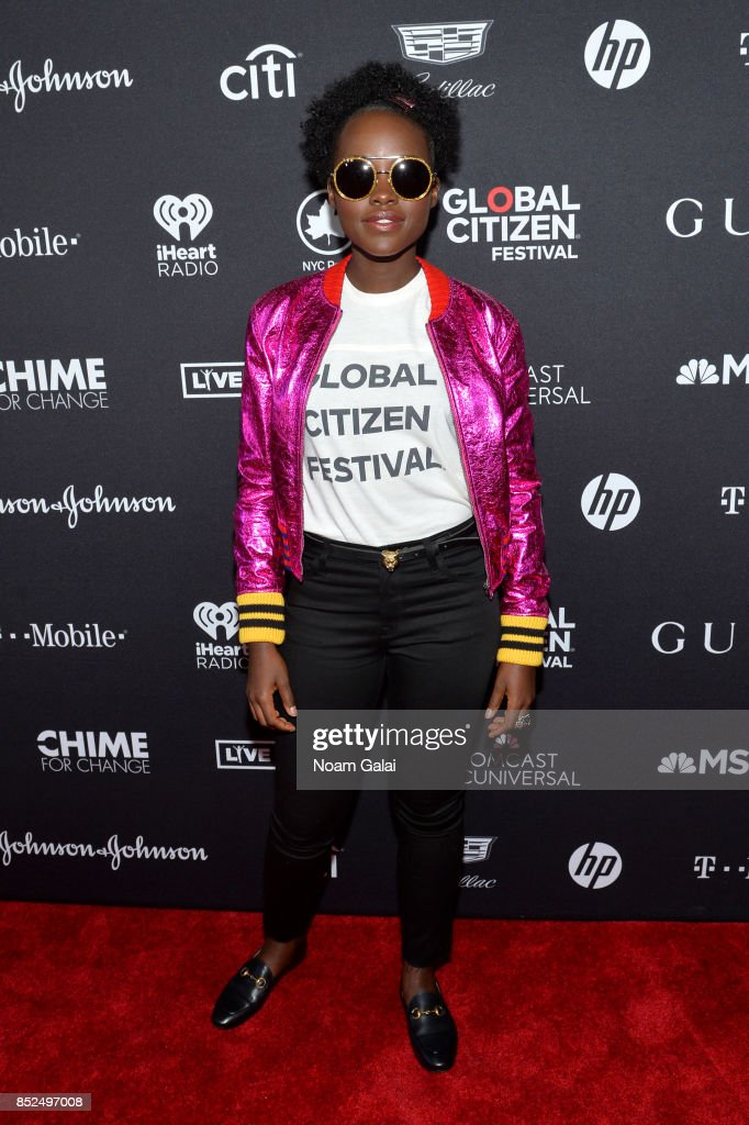 Lupita N'yongo poses in the VIP Lounge during the 2017 Global Citizen Festival in Central Park on September 23, 2017 in New York City.