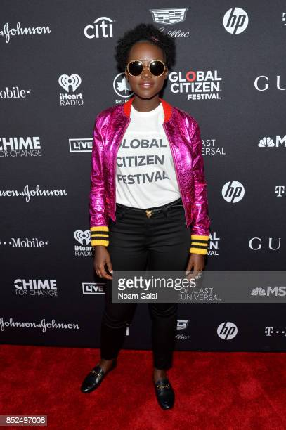 Lupita N'yongo poses in the VIP Lounge during the 2017 Global Citizen Festival in Central Park on September 23 2017 in New York City