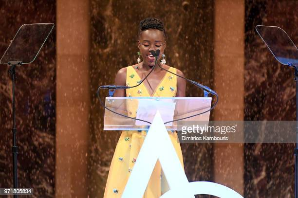 Lupita Nyong'o speaks onstage during the 22nd Annual Accessories Council ACE Awards at Cipriani 42nd Street on June 11 2018 in New York City