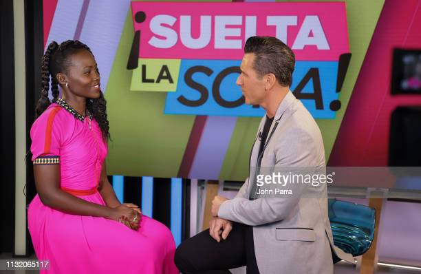 Lupita Nyong'o visits Suelta La Sopa with Jorge Bernal at Telemundo Center in support of US on March 21 2019 in Miami Florida