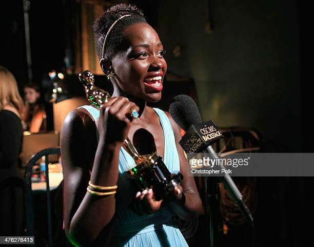 Lupita Nyong'o winner for Best Supporting Actress speaks backstage during the Oscars held at Dolby Theatre on March 2 2014 in Hollywood California
