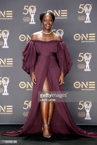 Lupita Nyong'o winner of Outstanding Motion Picture and Outstanding Ensemble Cast in a Motion Picture for 'Black Panther' attends the 50th NAACP...