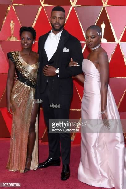 Lupita Nyong'o, Winston Duke, and Danai Gurira attend the 90th Annual Academy Awards at Hollywood & Highland Center on March 4, 2018 in Hollywood,...