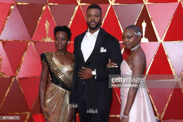Lupita Nyong'o Winston Duke and Danai Gurira attend the 90th Annual Academy Awards at Hollywood Highland Center on March 4 2018 in Hollywood...