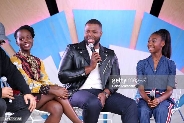 Lupita Nyong'o Winston Duke and Shahadi Wright Joseph at the #TwitterHouse for a conversation with the cast of 'Us' during SXSW on March 8 2019 in...