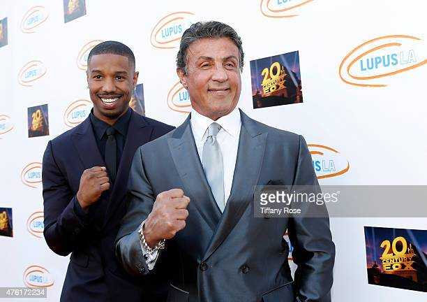 Lupus LA Ambassador Michael B Jordan and actor Sylvester Stallone attend the Lupus LA's Orange Ball A Night of Superheroes at the Fox Studio lot on...