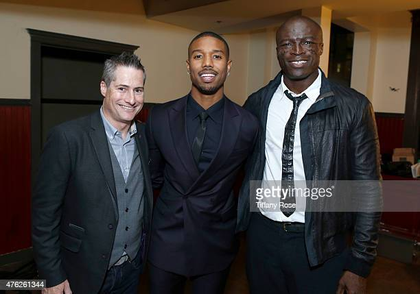 Lupus LA Chairman of the Board Adam Selkowitz Honoree Michael B Jordan and singer Seal attend the Lupus LA's Orange Ball A Night of Superheroes at...