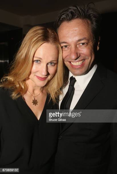 Lura Linney and husband Marc Schauer pose at the opening night after party for Manhattan Theatre Clubs production of The Little Foxes on Broadway at...