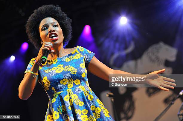 Lura Performs on stage during Day 4 of the Womad Festival at Charlton Park on July 31 2016 in Wiltshire England