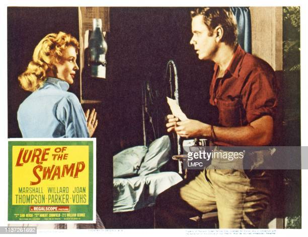 Lure Of The Swamp US lobbycard from left Joan Vohs Marshall Thompson 1957