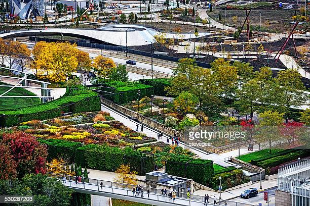 lurie garden in chicago - millenium park stock photos and pictures