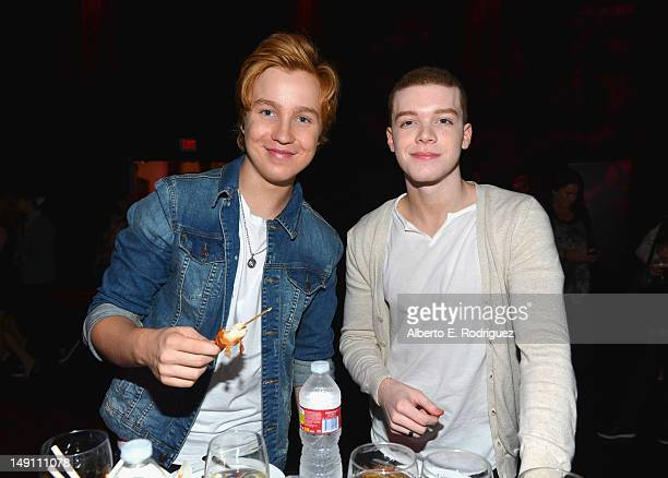 Lurie Poston and Cameron Monaghan attend the Staples DoSomethingorg Bella Thorne Party for the 5th Staples for Students School Supply Drive...