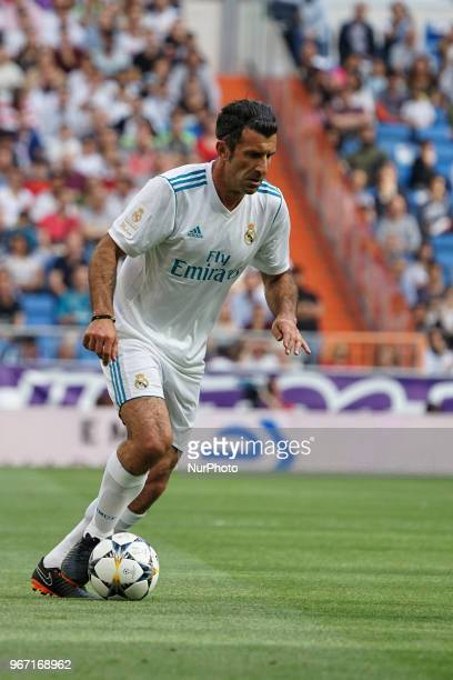 Luís Figo of Real Madrid Legends during the Corazon Classic match between Real Madrid Legends and Asenal Legends at Estadio Santiago Bernabeu on June...