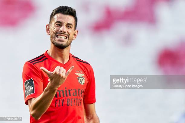 Luís Miguel Afonso Fernandes 'Pizzi' of SL Benfica celebrates after scoring his team's first goal during the Liga NOS match between SL Benfica and SC...