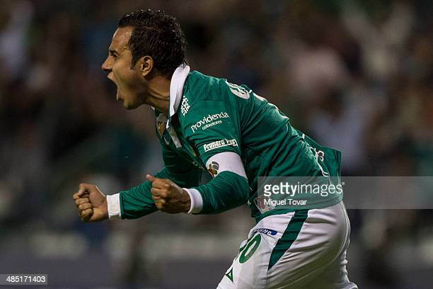 Luís Montes of Leon celebrates a scored goal during a second round match between Leon and Bolivar as part of the Copa Bridgestone Libertadores 2014...