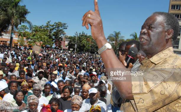 The leader of Zambia's largest oppposition Patriotic Fron Michael Sata speaks to some 3000 demonstrators outside the finance ministry in Lusaka 12...