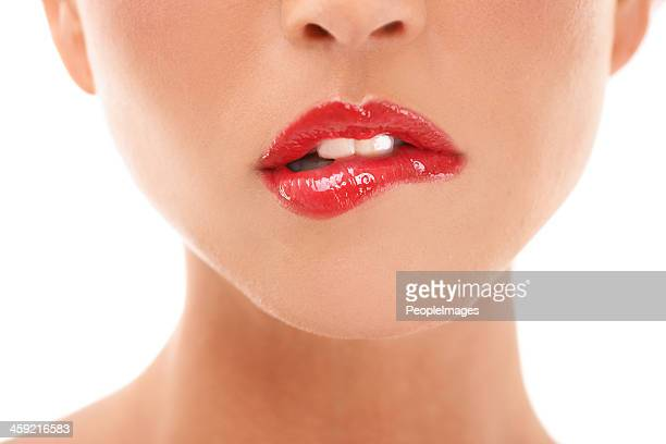 luscious lips - biting lip stock pictures, royalty-free photos & images