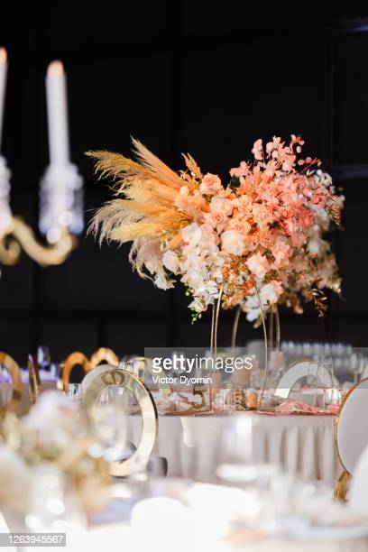 lush and stylish floral composition on the wedding - wedding decoration stock pictures, royalty-free photos & images