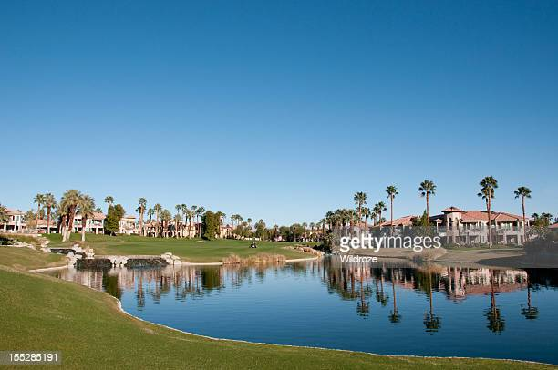 Lush green golf course in the Palm Springs desert