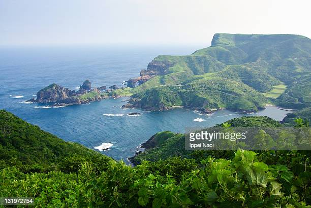 Lush green hills and sea from above, Oki Islands