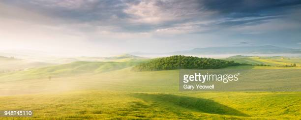 lush green panoramic landscape of tuscany - anhöhe stock-fotos und bilder