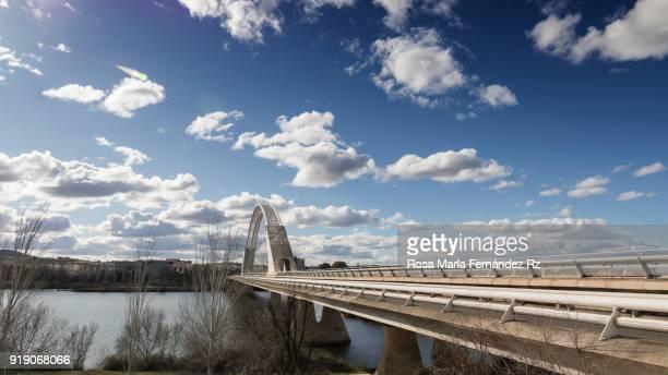 Lusitania bridge. Modern steel suspension road bridge over the River Guadiana,  Merida, Badajoz,  Spain