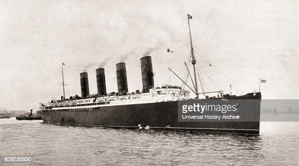 RMS Lusitania Cunard Line ocean liner torpedoed and sunk by a German submarine in 1915 during World War One From The Illustrated War News published...
