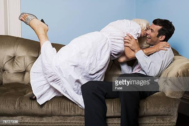 Lustful Woman Kissing Man