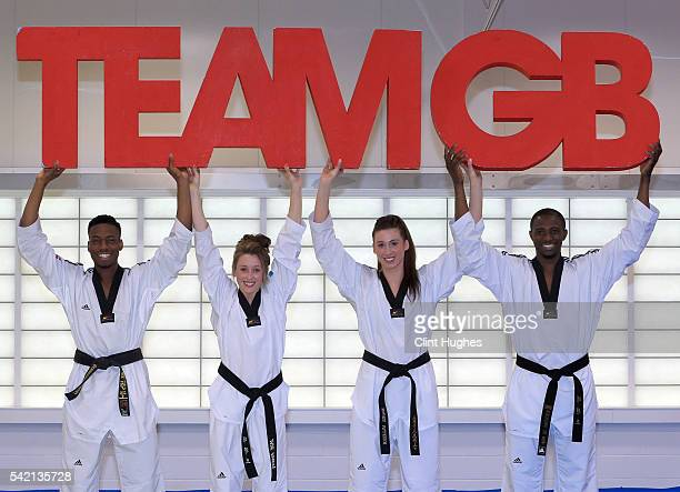 Lutalo Muhammad Jade Jones Bianca Walkden and Mahama Cho pose for a photo during the announcement of taekwondo athletes named in Team GB for the Rio...