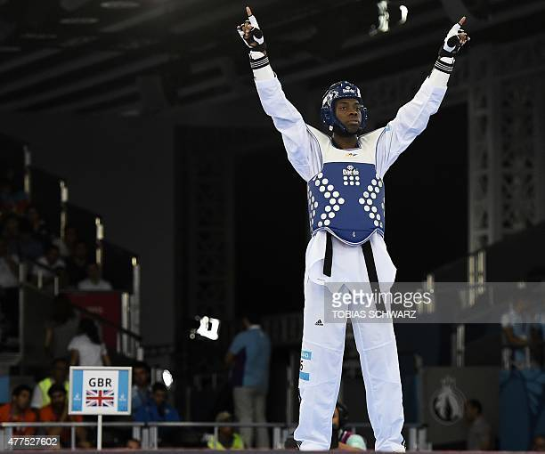 Lutalo Muhammad of Britain prepares for his Taekwondo men's 80kg preliminary fight against Teodor Georgiev from Bulgaria at the 2015 European Games...