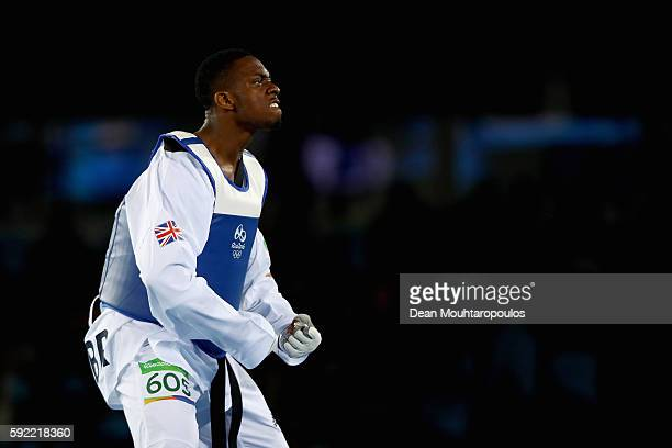 Lutalo Muhammad of Great Britain or Team GB celebrates after victory against Milad Beigi Harchegani of Azerbaijan during their Men's -80kg semifinal...