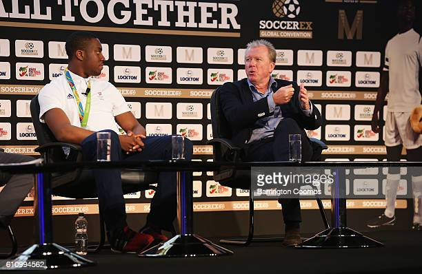 Lutalo Muhammad Team GB Taekwondo athlete and former England manager Steve McClaren talk during day 3 of the Soccerex Global Convention 2016 at...